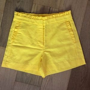 j.crew yellow ruffle high waist shorts sz 0; NWT